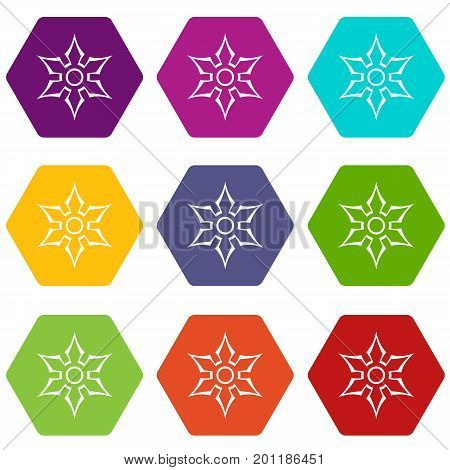 Ninja shuriken star weapon icon set many color hexahedron isolated on white vector illustration