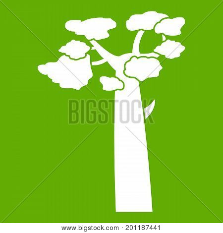 Baobab icon white isolated on green background. Vector illustration