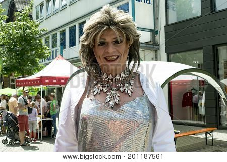 Wetzlar HESSEN Germany _ June 24 2017: CSD (Christopher Street Day) Gay pride parade in Wetzlar Germany. This year's parade was themed