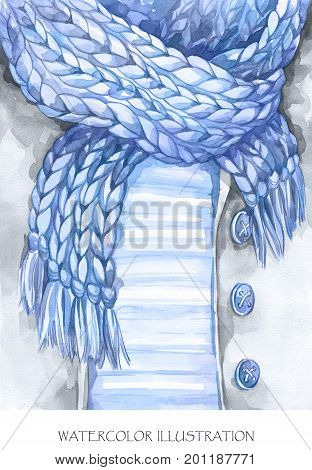 Watercolor vintage illustration. Warm wear look. Hand painted jacket, knitting scarf in fashion concept. Style girl. Ready for print, poster, fashion design, greeting card.