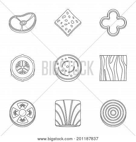 Kitchen sliced vegetables icon set. Outline set of 9 kitchen sliced vegetables vector icons for web isolated on white background
