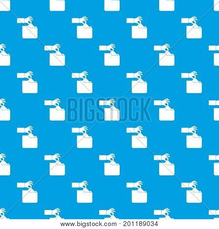 Robbery secret data in folder pattern repeat seamless in blue color for any design. Vector geometric illustration