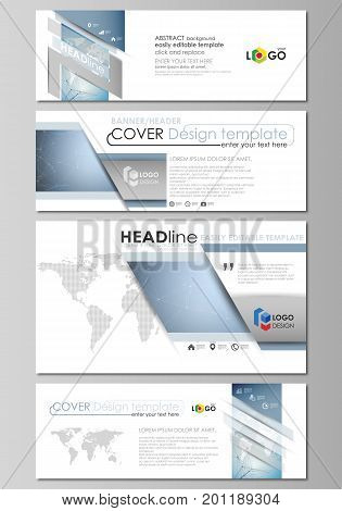 The minimalistic vector illustration of the editable layout of social media, email headers, banner design templates in popular formats. Scientific medical DNA research. Science or medical concept