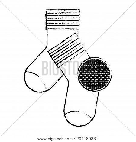monochrome blurred silhouette of pair of socks and circle of macro textile pattern vector illustration