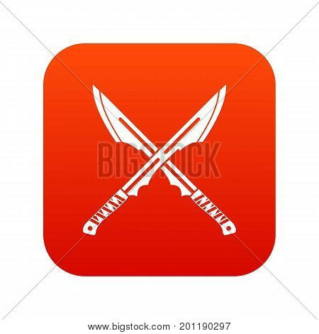 Japanese tanto daggers icon digital red for any design isolated on white vector illustration