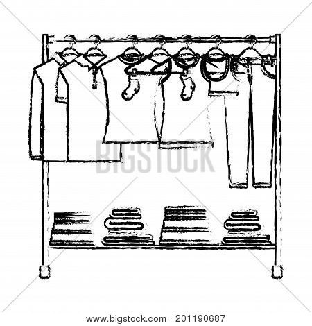 monochrome blurred silhouette of clothes rack with t-shirts and pants on hangers and fold clothes on bottom vector illustration