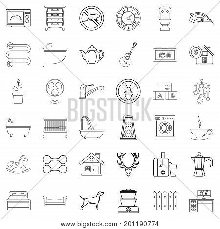 Bathroom icons set. Outline style of 36 bathroom vector icons for web isolated on white background