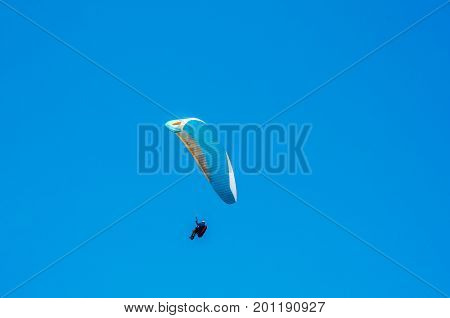 Paraglider Flying In The Sky, Free Time Spent Actively, Wonderful Experiences