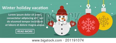 Winter holiday vacation banner horizontal concept. Flat illustration of winter holiday vacation banner horizontal vector concept for web