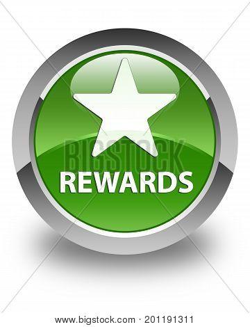 Rewards (star Icon) Glossy Soft Green Round Button