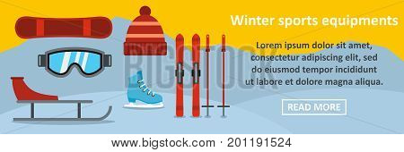 Winter sports equipments banner horizontal concept. Flat illustration of winter sports equipments banner horizontal vector concept for web