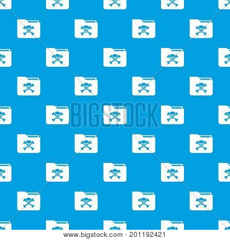File folder with a skull pattern repeat seamless in blue color for any design. Vector geometric illustration