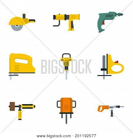 Electric power tool icon set. Flat set of 9 electric power tool vector icons for web isolated on white background