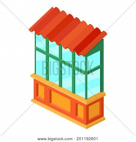 Old balcony icon. Isometric illustration of old balcony vector icon for web