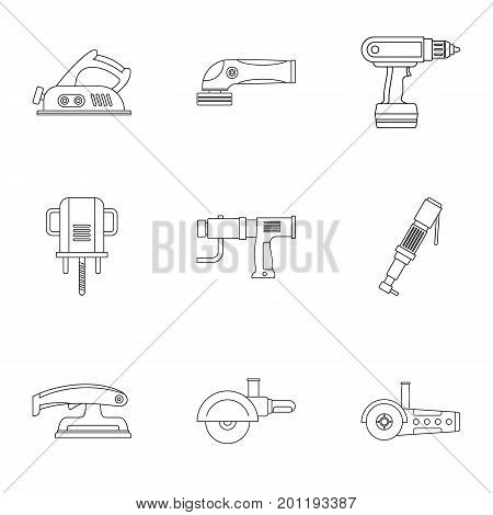 Power tool icon set. Outline set of 9 power tool vector icons for web isolated on white background