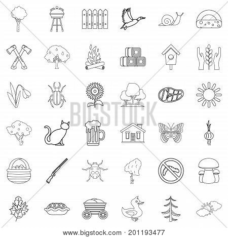 Settlement icons set. Outline style of 36 settlement vector icons for web isolated on white background