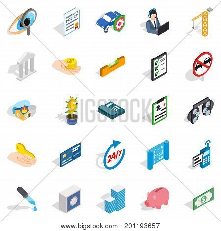 Help icons set. Isometric set of 25 help vector icons for web isolated on white background
