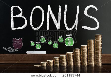 Bonus And Employee Compensation Concept On Blackboard