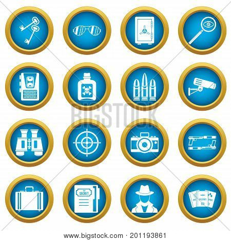 Spy tools icons blue circle set isolated on white for digital marketing