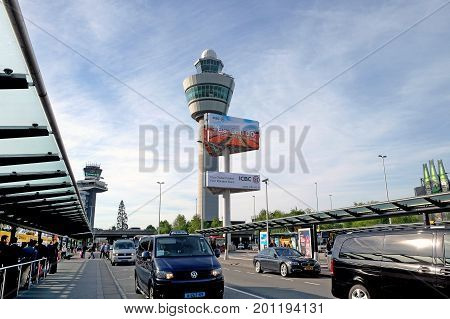 SCHIPHOL HOLLAND - MAY 17 2017: Dispatch tower at the airport of Amsterdam Schiphol