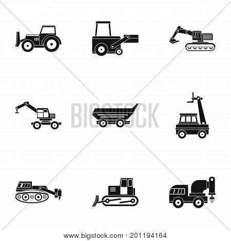 Construction vehicle icon set. Simple set of 9 construction vehicle vector icons for web isolated on white background
