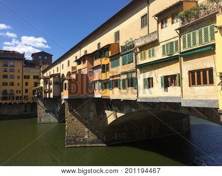Ponte Vecchio bridge of the River Arno in Florence, Italy