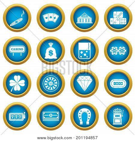 Casino icons blue circle set isolated on white for digital marketing