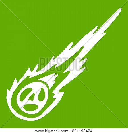 Meteorite icon white isolated on green background. Vector illustration