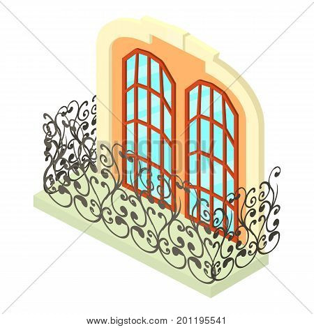 Vintage balcony icon. Isometric illustration of vintage balcony vector icon for web