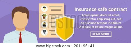 Insurance safe contract banner horizontal concept. Flat illustration of insurance safe contract banner horizontal vector concept for web