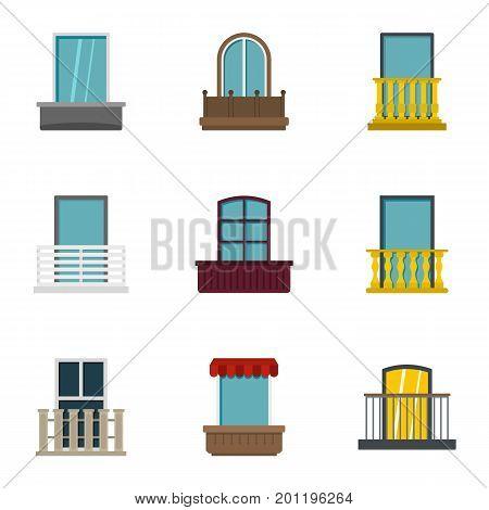 House balcony icon set. Flat set of 9 house balcony vector icons for web isolated on white background