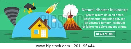 Natural disaster insurance banner horizontal concept. Flat illustration of natural disaster insurance banner horizontal vector concept for web