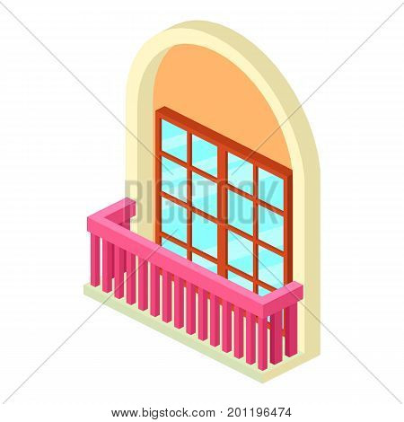 Narrow balcony icon. Isometric illustration of narrow balcony vector icon for web