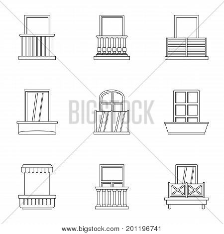 Construction balcony icon set. Outline set of 9 construction balcony vector icons for web isolated on white background