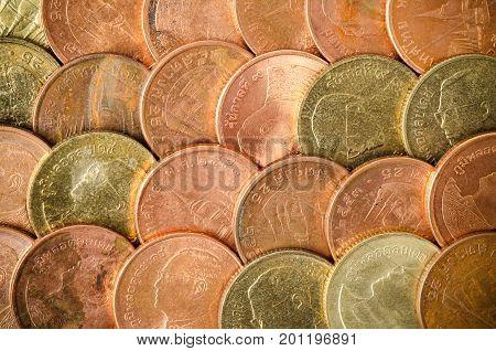 Thai coin 25 Satang, coin texture background