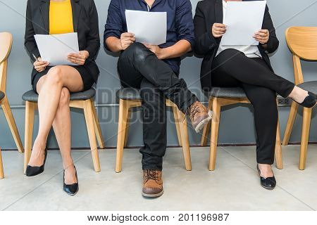 Business people waiting for job interview,Young women waiting for job interview. Business Concept