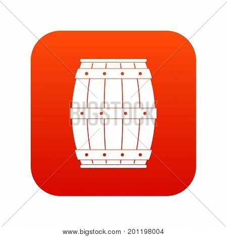 Wooden barrel icon digital red for any design isolated on white vector illustration