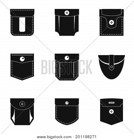 Pocket form icon set. Simple set of 9 pocket form vector icons for web isolated on white background