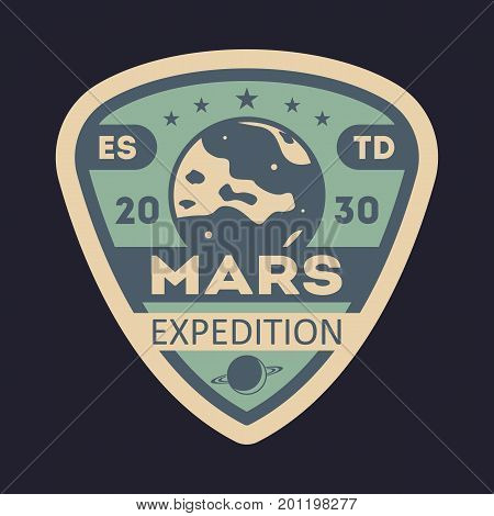 Martian expedition vintage isolated label. Scientific odyssey symbol, modern spacecraft flying, planet colonization vector illustration.
