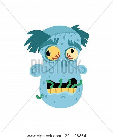 Angry zombie man head icon in cartoon style. Halloween undead sign, horror monster avatar, zombie character vector illustration