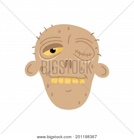 Cute dead man head icon in cartoon style. Halloween undead sign, horror monster avatar, zombie character vector illustration