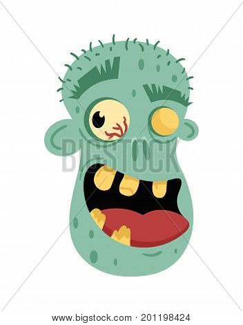 Undead smiling man head avatar in cartoon style. Halloween undead sign, scary dead man icon, zombie character vector illustration