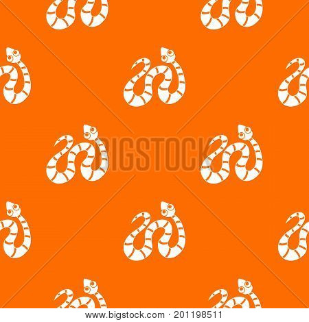 Black striped snake pattern repeat seamless in orange color for any design. Vector geometric illustration