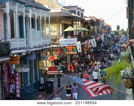 NEW ORLEANS, LOUISIANA, USA--Street parties at Bourbon Street, French Quarter in New Orleans at night is one that visitors must not miss. Photo taken in August 2015.