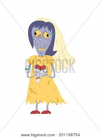 Female zombie in wedding dress character. Bride zombie personage, undead monster wedding, zombie apocalypse vector illustration.