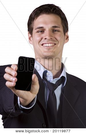 White Businessman Holding A Cell Phone