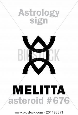 Astrology Alphabet: MELITTA (Melissa), asteroid #676. Hieroglyphics character sign (single symbol).