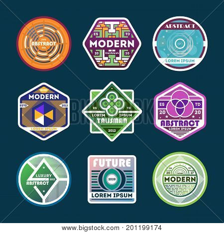 Abstract modern isolated label set.Creative and dynamic sign collection. Luxury conceptual badge, futuristic symbol, product or company identity design, geometric shape vector illustration.