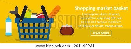 Shopping market basket banner horizontal concept. Flat illustration of shopping market basket banner horizontal vector concept for web