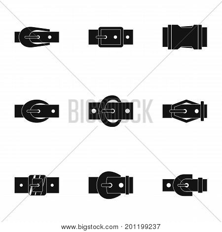 Elegance belt buckle icon set. Simple set of 9 elegance belt buckle vector icons for web isolated on white background